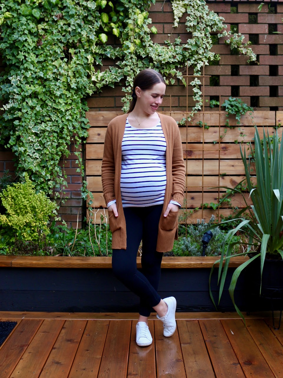 Jules in Flats - Striped Tee with Leggings (Business Casual Workwear on a Budget)