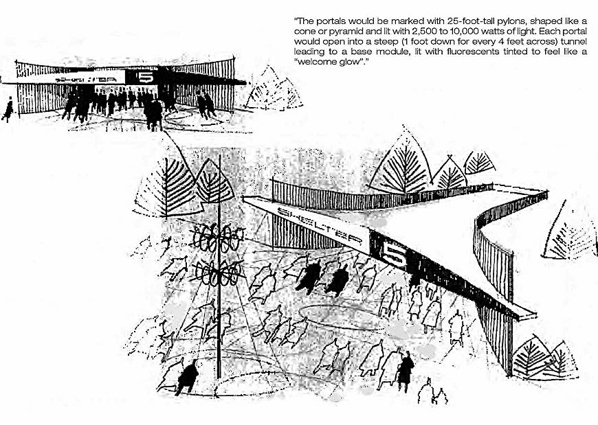 a 1956 nuclear shelter for the public, stylish and illustrated