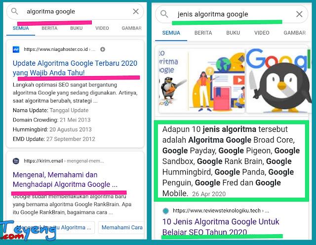 Hasil penelusuran kata kunci jenis algoritma google.