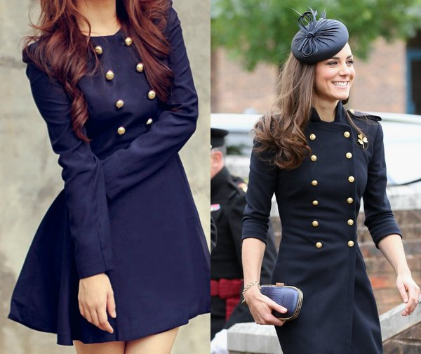 Military button jacket dress