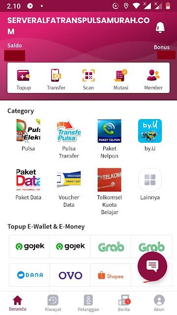 Aplikasi Android Alfatrans Pulsa