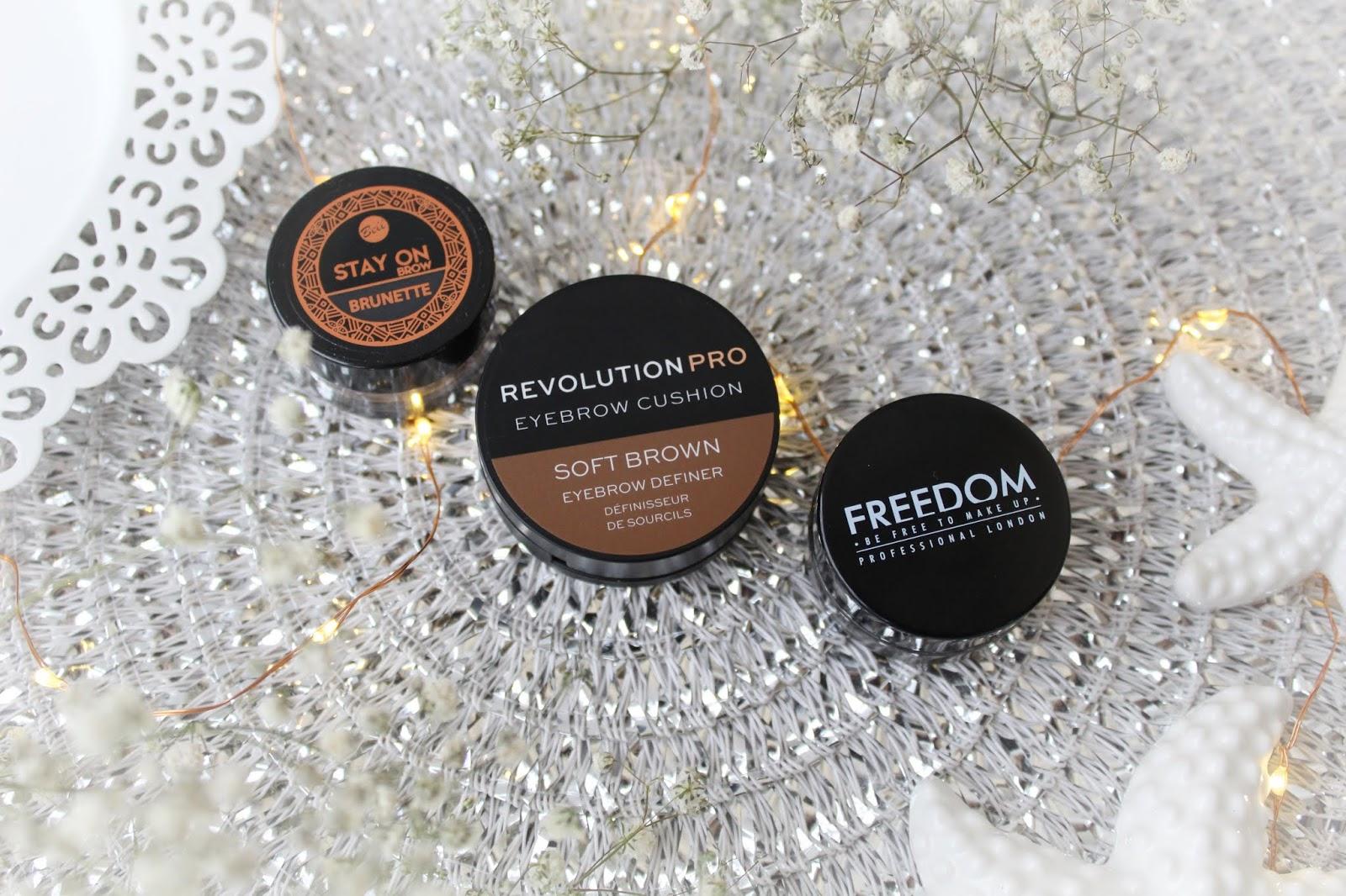 Freedom Pro Brow Pomade, Revolution Pro Eyebrow Cushion oraz Bell Stay On Brow - porównanie 3 pomad do brwi