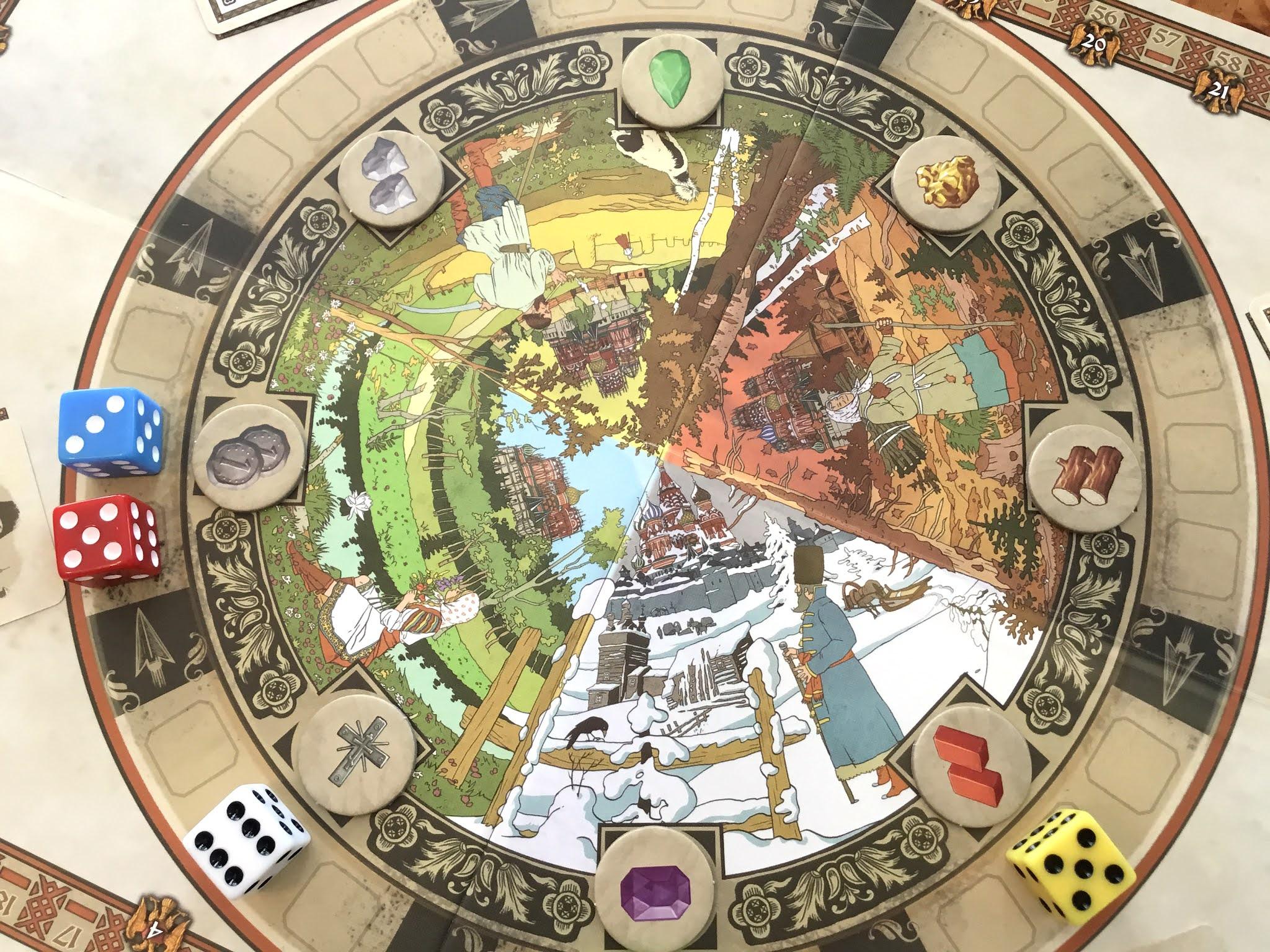 Lähikuva The Red Cathedralin rondel-laudasta