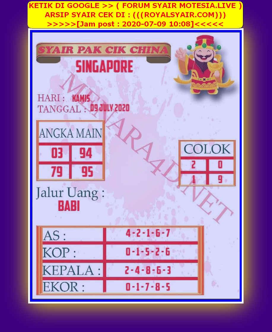 Kode syair Singapore Kamis 9 Juli 2020 152