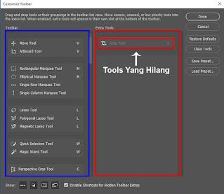 Memunculkan dan Mengembalikan Tools Photoshop Yang Hilang