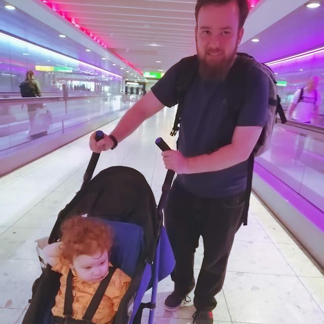 Matt and Mini at Heathrow airport