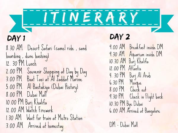Full Itinerary to Dubai 2 Days 2 Nights