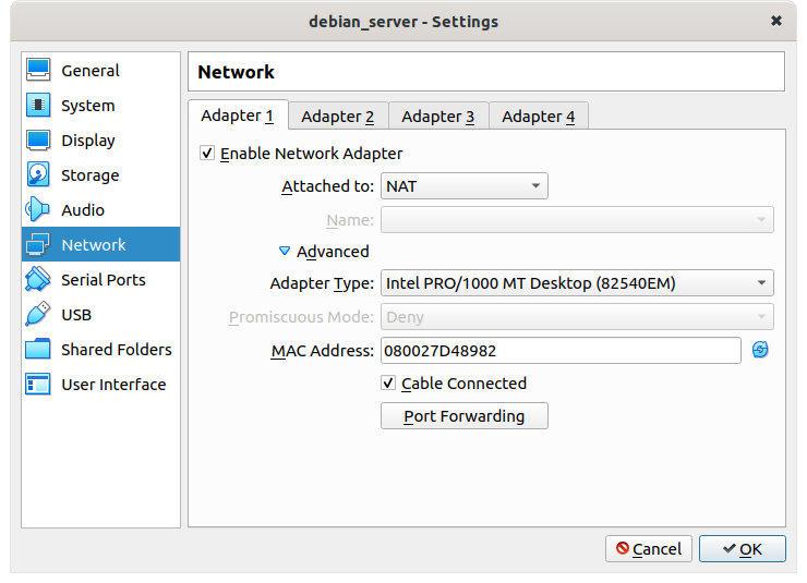 Figure 9: NAT adapter default settings
