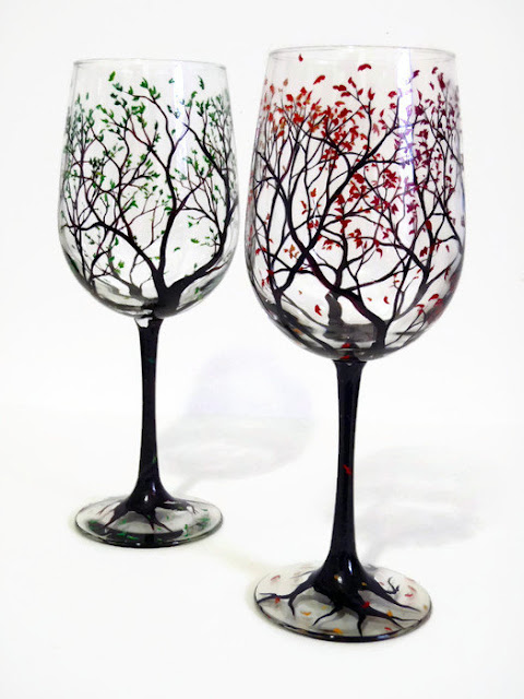 Hand-painted wine glass favors