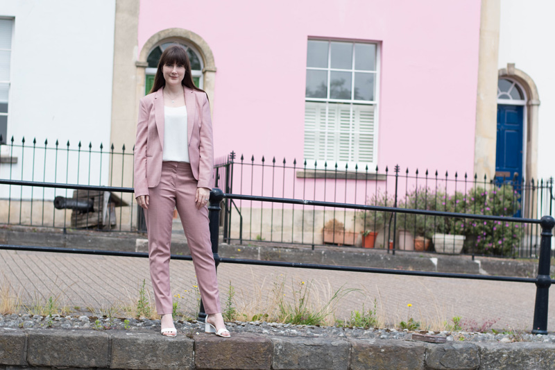 How to style a pink suit