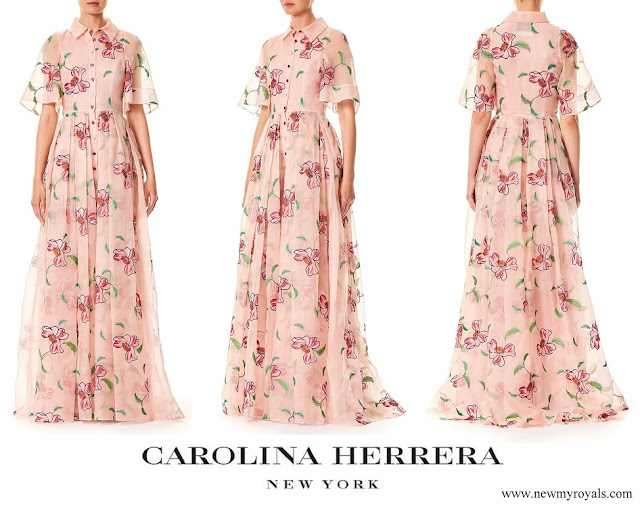 Queen Letizia wore Carolina Herrera Floral Embroidered Organza Dress