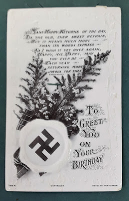 Carmen Wing Art Blog - Mail Art - Vintage Postcards - Social History - Nazi Swastika on Birthday Greeting