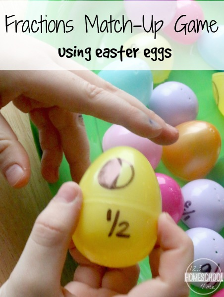 fractions matching math game with easter eggs