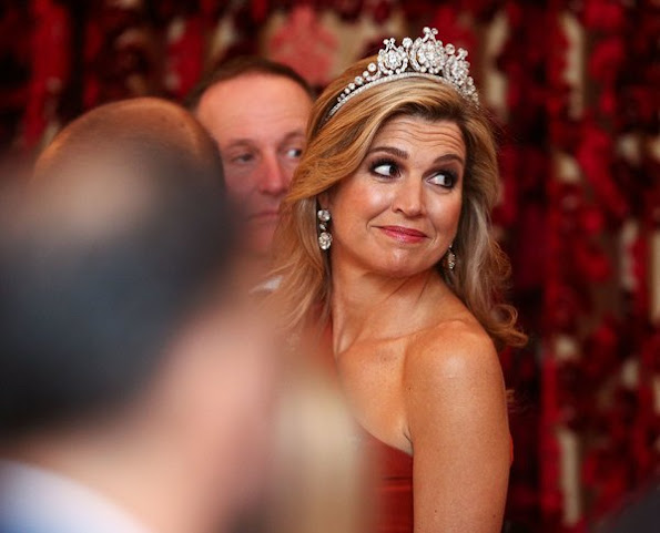 Queen Maxima diamond Tiara, wore Claes Iversen dress, Diamond earrings