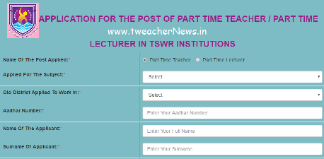 TSWRIES Part Time Teachers/ Lecturers Online Application 2017 Recruitment Notification