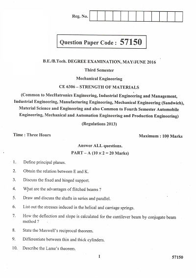 CE6306 Strength of Materials May June 2016 Question Paper