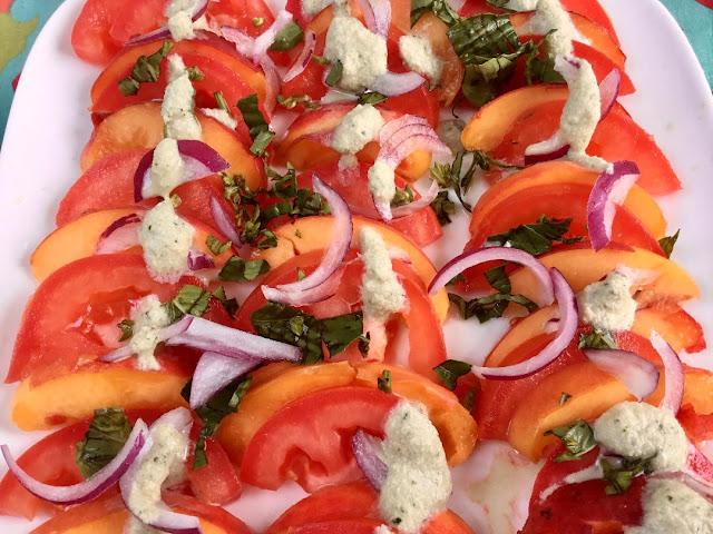 vegan caprese salad with peaches
