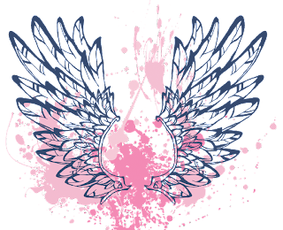 two feathery wings, rising over a background of spattered blood