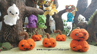 crochet pumpkins bat ghost in a forest scene