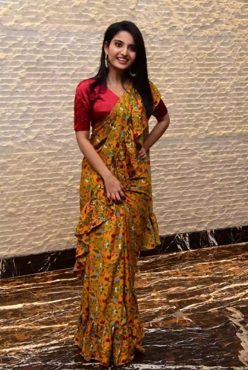 ananya-nagalla-in-yellow-ruffle-saree