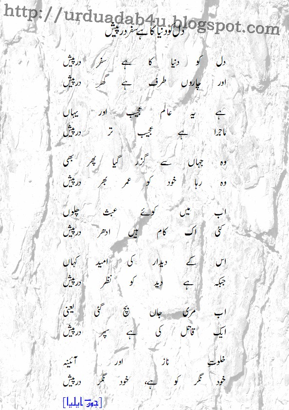 URDU ADAB: Dil Ko Dunya Ka Hay Safar Dar Paish; an Urdu