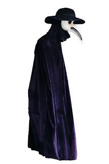 Médecin de peste, costume avec masque en bec d'oiseau