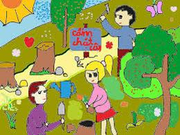Vẽ tranh cổ động bảo vệ bầu không khí trong sạch