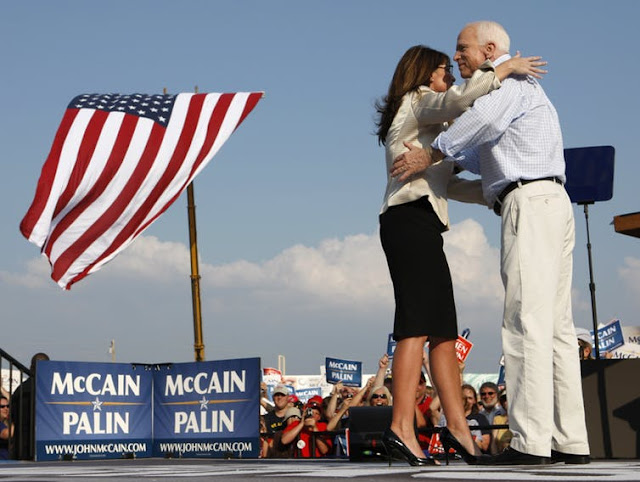 Republican presidential candidate Sen. John McCain and his running mate Alaska Gov. Sarah Palin, 2008.