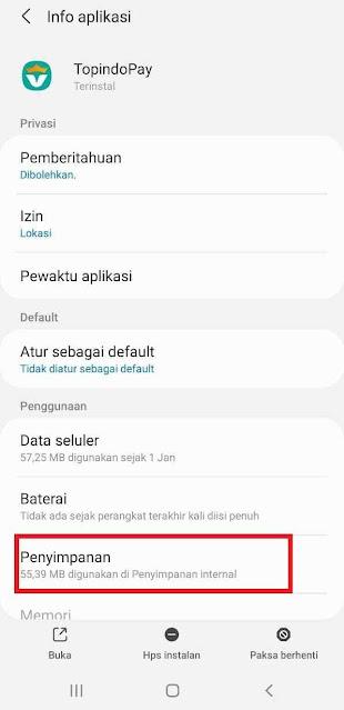 Pada halaman Info Aplikasi Topindopay pilih penyimpanan