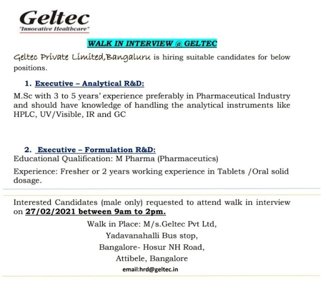 Geltec Pharma | Walk-in interview for AR&D and FR&D on 27th Feb 2021