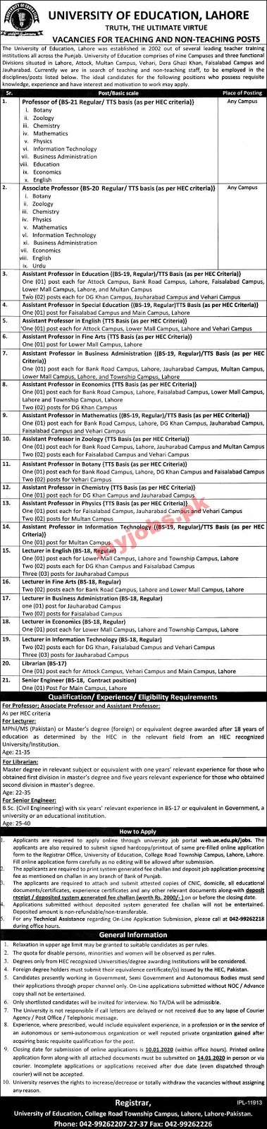 UNIVERSITY OF EDUCATION, LAHORE VACANCIES FOR TEACHING AND NON-TEACHING POSTS 2020