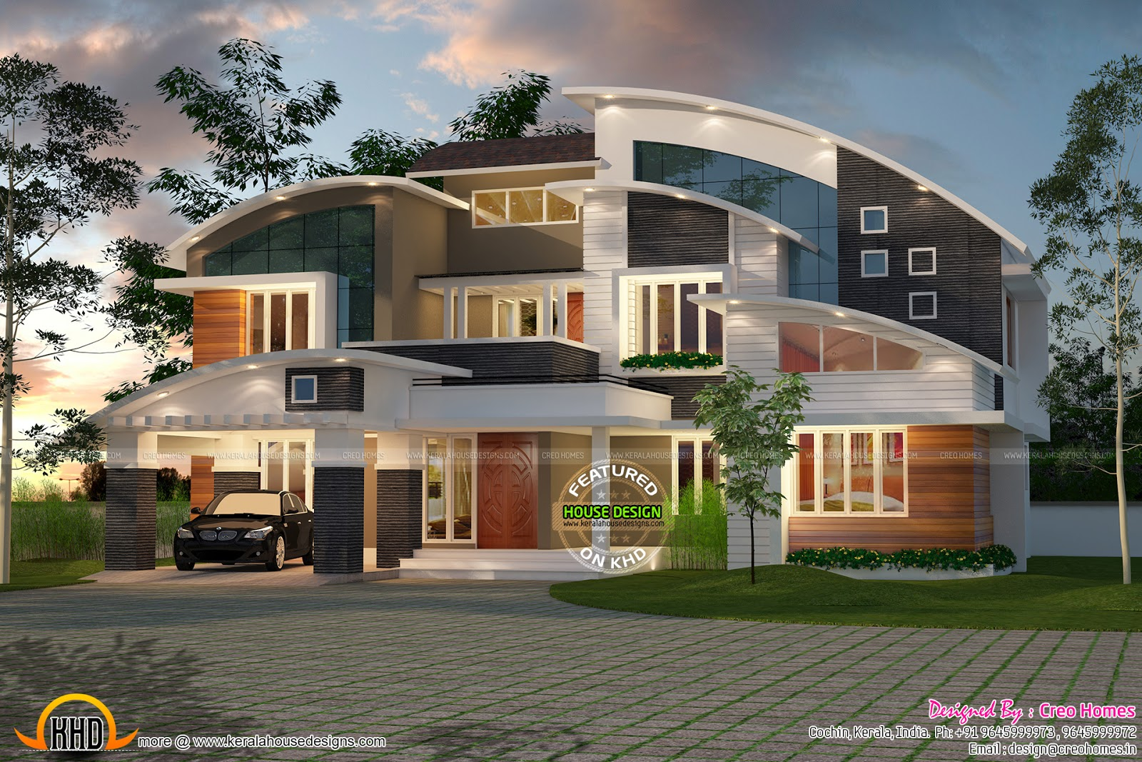 Modern house plans curved roof front design for Contemporary roof