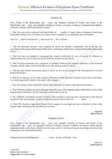 format of affidavit for duplicate share certificate