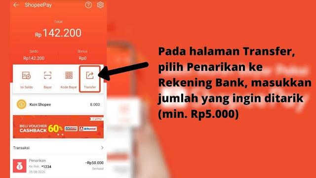 Cara Menarik Saldo ShopeePay dan Masukka Ke Rekening Bank