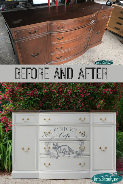 Vintage Bow front buffet makeover using Finicky Fox Furniture transfer and general finishes paint