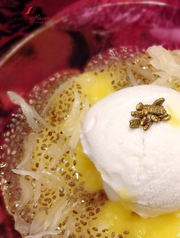 delicious mango puree coconut ice cream with grapefruit