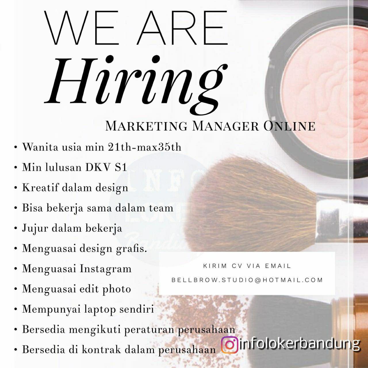 Lowongan Kerja Merketing Manajer Online Bellbrow Studio Bandung Mei 2018