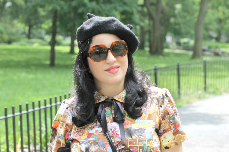 A Vintage Nerd Vintage Fashion Blogger 1960s Fashion Inspiration Bernie Dexter Dress Cat Themed Outfit