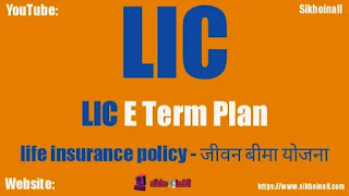 LIC E Term Plan & जीवन बीमा योजना, Life Insurance Policy, जीवन बीमा योजनाएं, LIC का नया जीवन