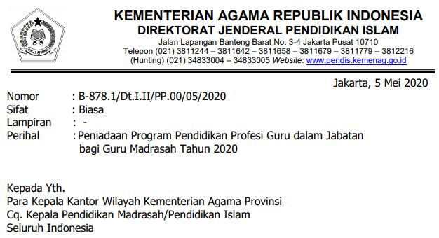 Surat Edaran Peniadaan Pelaksanaan Program Pendidikan Prrofesi Guru (PPG)