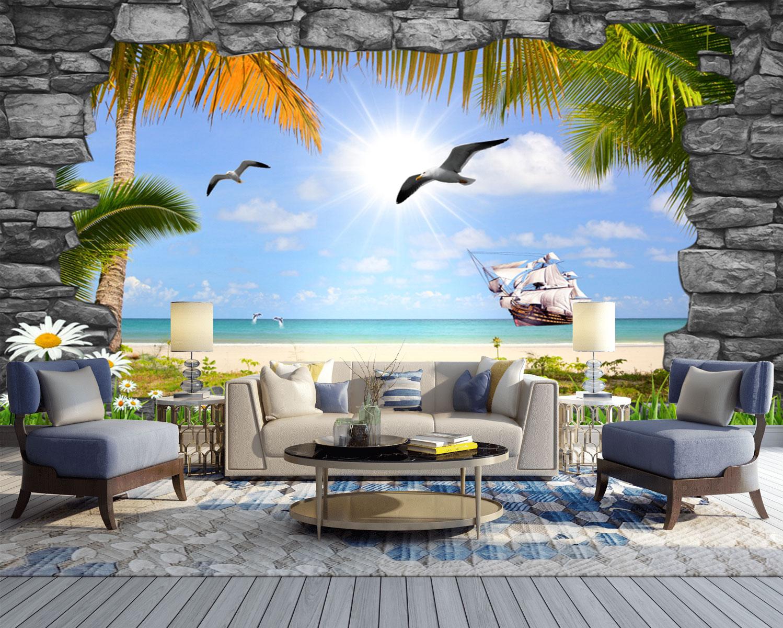 Tranh 3D Dán Tường Bãi Biển