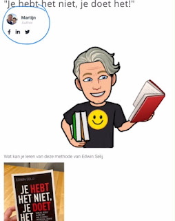 Bitmoji afbeelding van Martijn van der Horst met boek