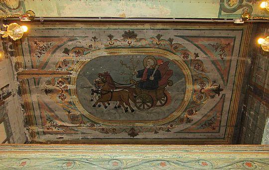 Malowidło na stropie babińca przedstawiające proroka Eliasza na rydwanie zaprzężonym w konie.