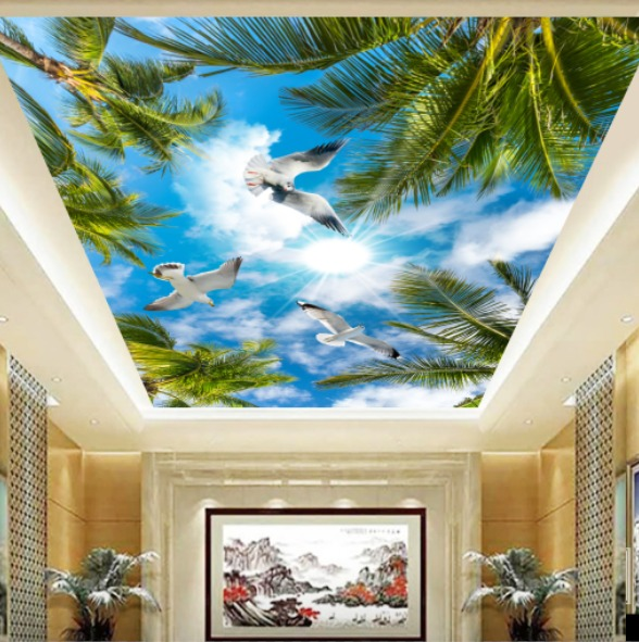 gambar awan dengan burung tropis