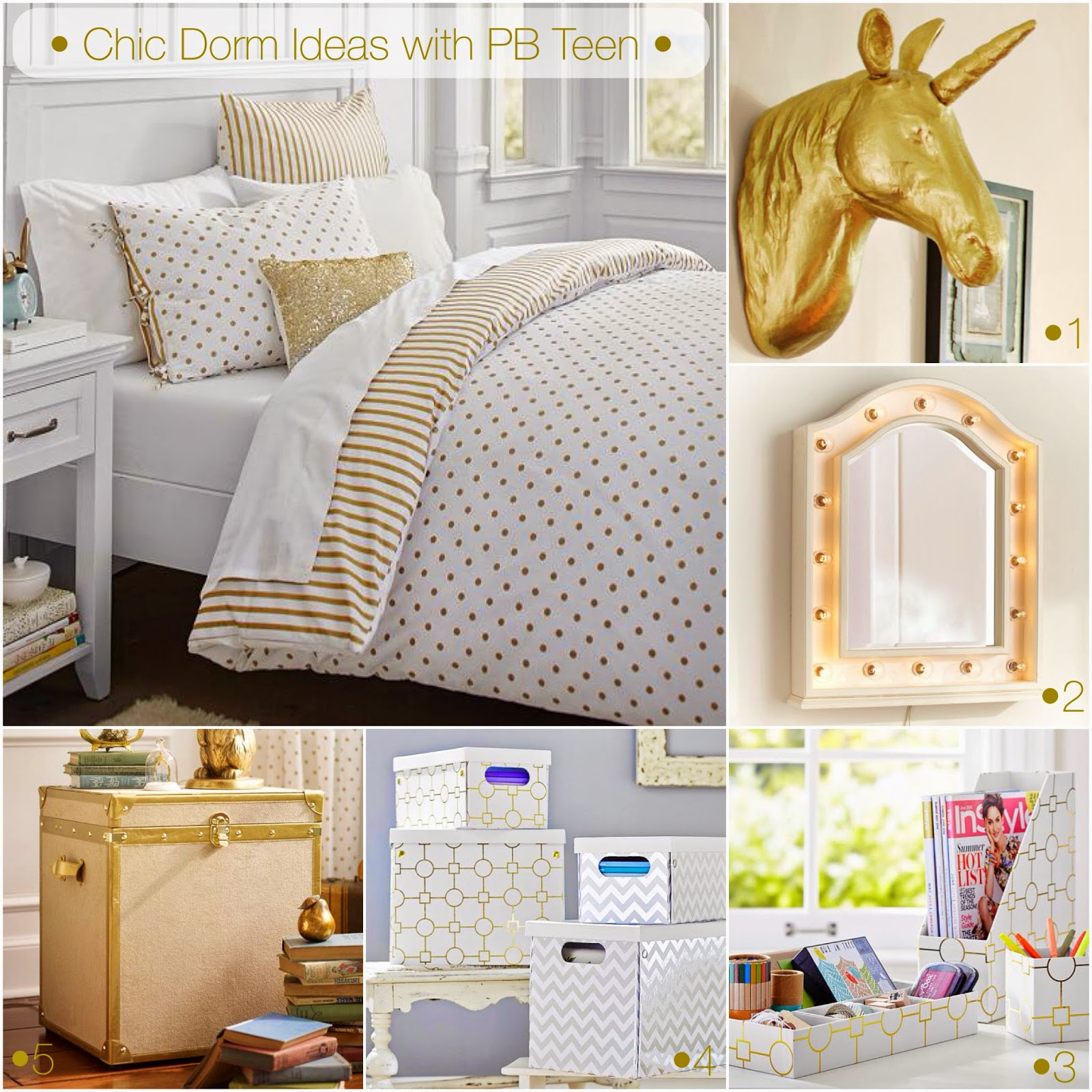 PB teen dorm do-over, Pottery Barn Dorm gold and white, Gold and white bedroom inspo, gold bedroom inspiration, gold and white office supplies, Dorm room style, Dorm room ideas, Dorm room décor, Dorm room essentials, Dorm organization