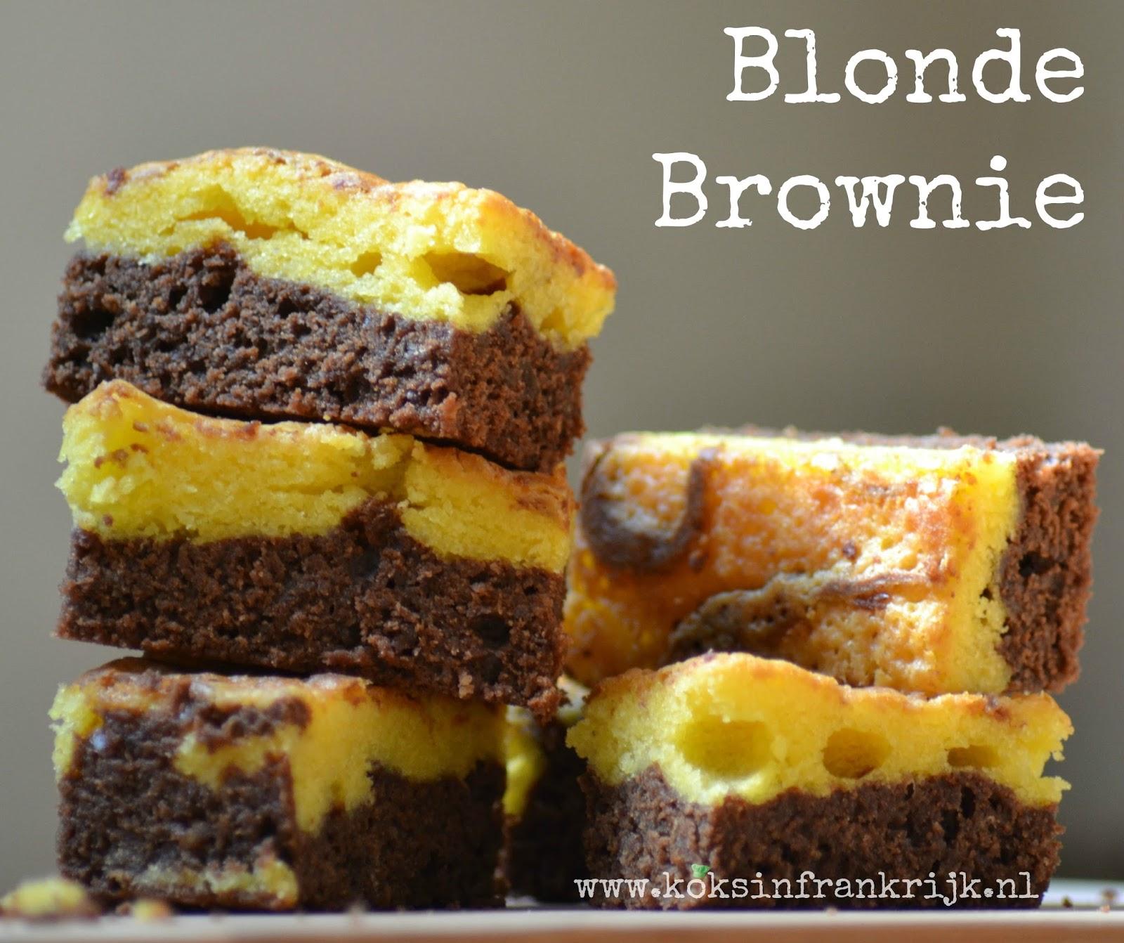Blonde brownie - smeuïge cake met witte en pure chocolade