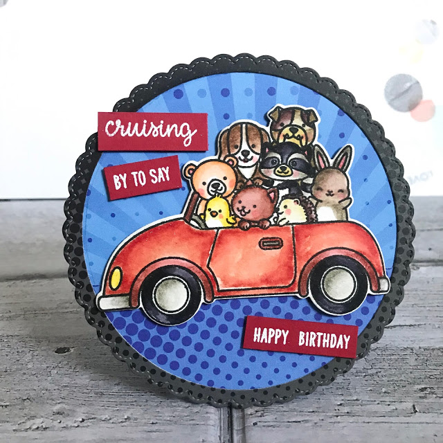 Sunny Studio Stamps: Cruising Critters Fancy Frames Circle Dies Happy Birthday Card by Lexa Levana