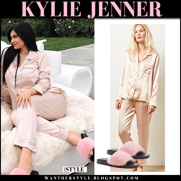 Kylie Jenner in pink silk pajama set with pink fur givenchy slides baby shower celebrity maternity fashion bump