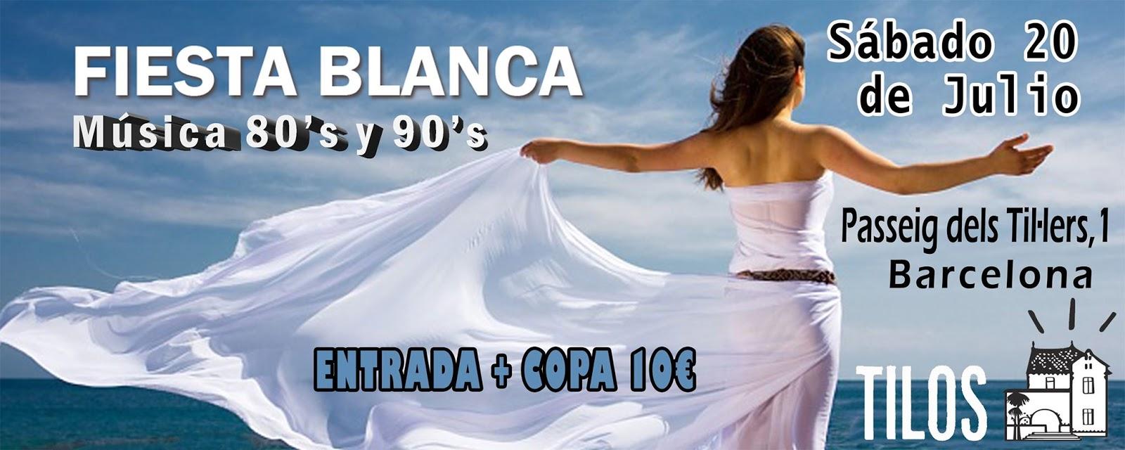 Flyer Fiesta Blanca 80s y 90s en Los Tilos
