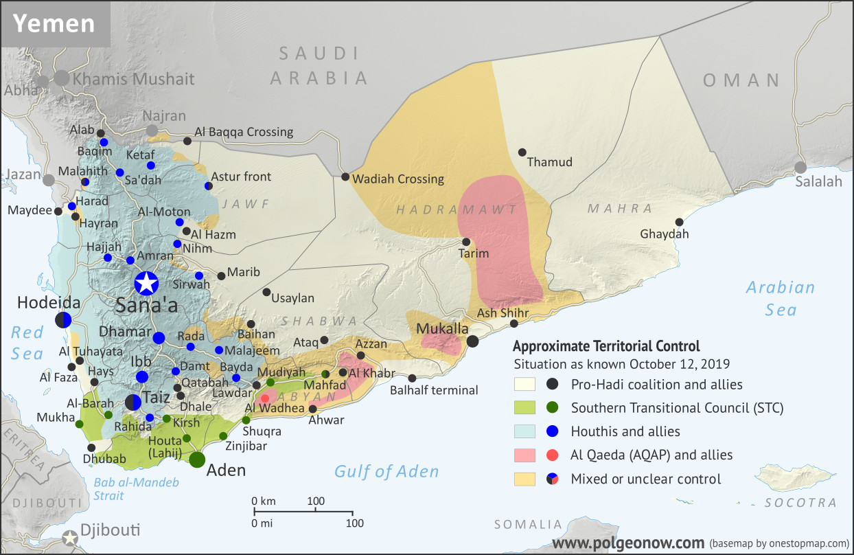 Map of what is happening in Yemen as of October 12, 2019, including territorial control for the unrecognized Houthi government, president-in-exile Hadi and his allies in the Saudi-led coalition, the UAE-backed southern separatist Southern Transitional Council (STC), and Al Qaeda in the Arabian Peninsula (AQAP). Includes recent locations of fighting and other events, including Ataq, Mahfad, Al Wadhea, Ketaf, and more.